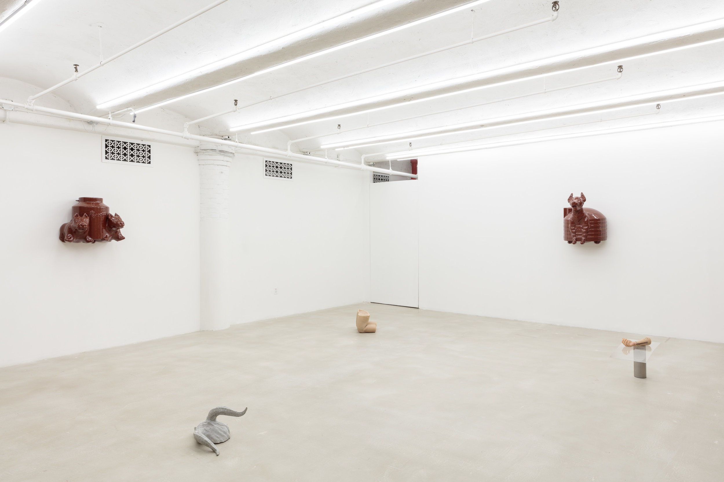 While Removing the Garbage and Paying The Cleaner,  Installation View, floor works by Cole Lu, American Medium, New York, NY, 2018