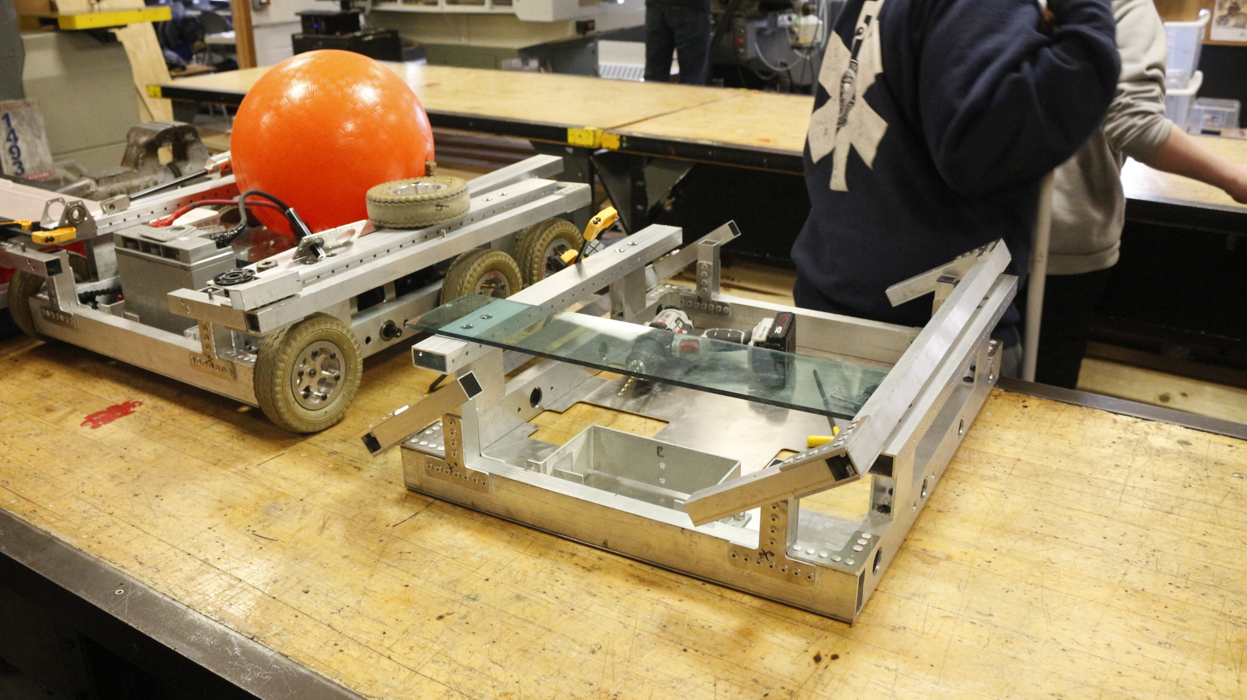 - The Competition Robot frame on the left and the Practice Robot frame on the right.