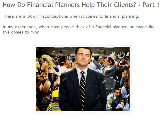 Blake - how do financial planners help their clients
