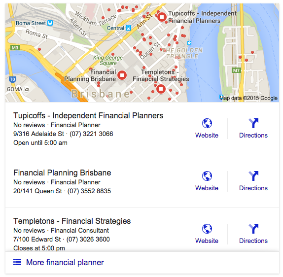 Google search - financial planner Brisbane