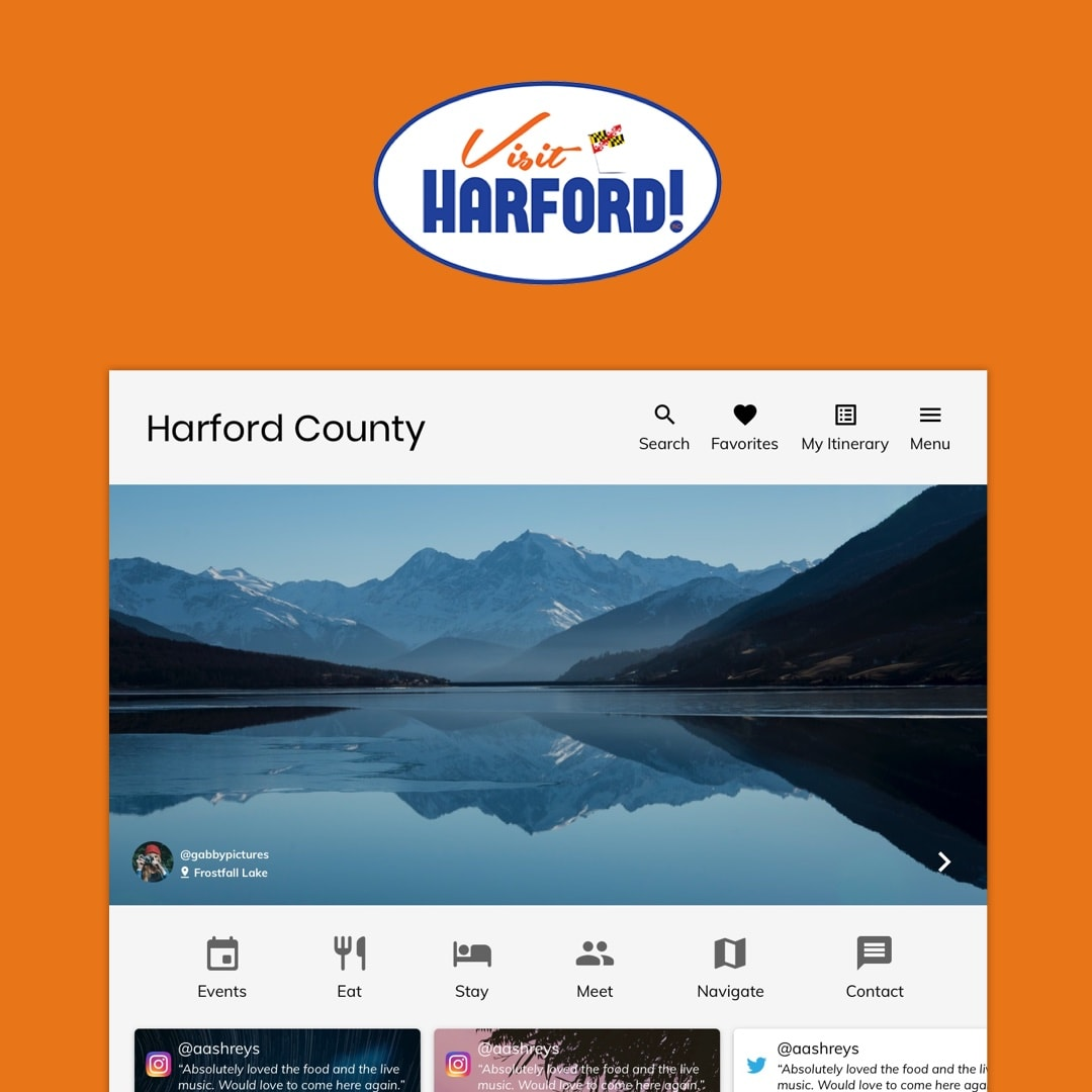 Visit Harford - UX Research ∙ Dec 2018A six-week long class project where I conducted user research to improve the user-engagement of Visit Harford by creating a more engaging trip planning experience.