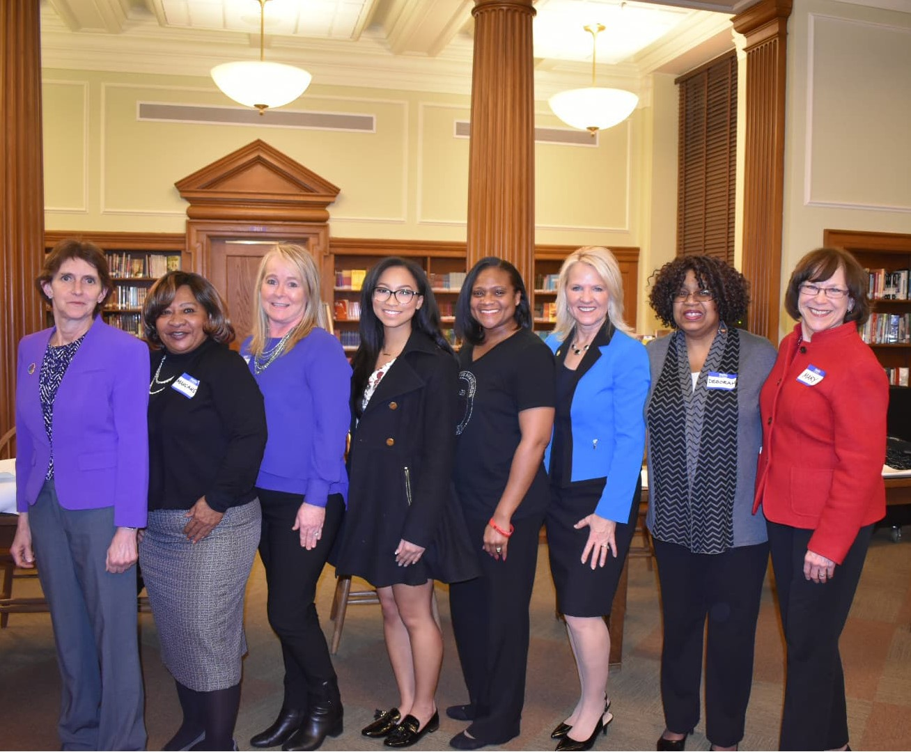 HerStory Ensemble's Founder, Dr. DeBorah Gilbert White (second from right), with Delaware's Lt. Governor Bethany Hall-Long (third from right) and event facilitators at the Mental Health Community Forum in Wilmington, Delaware in 2018.