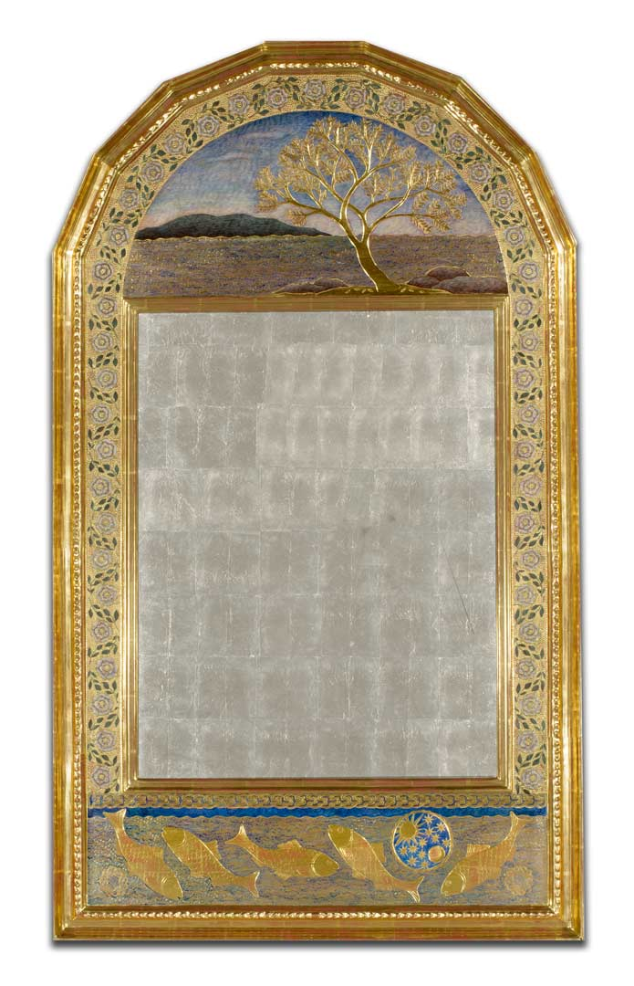 rose mirror gilded glass 48x28