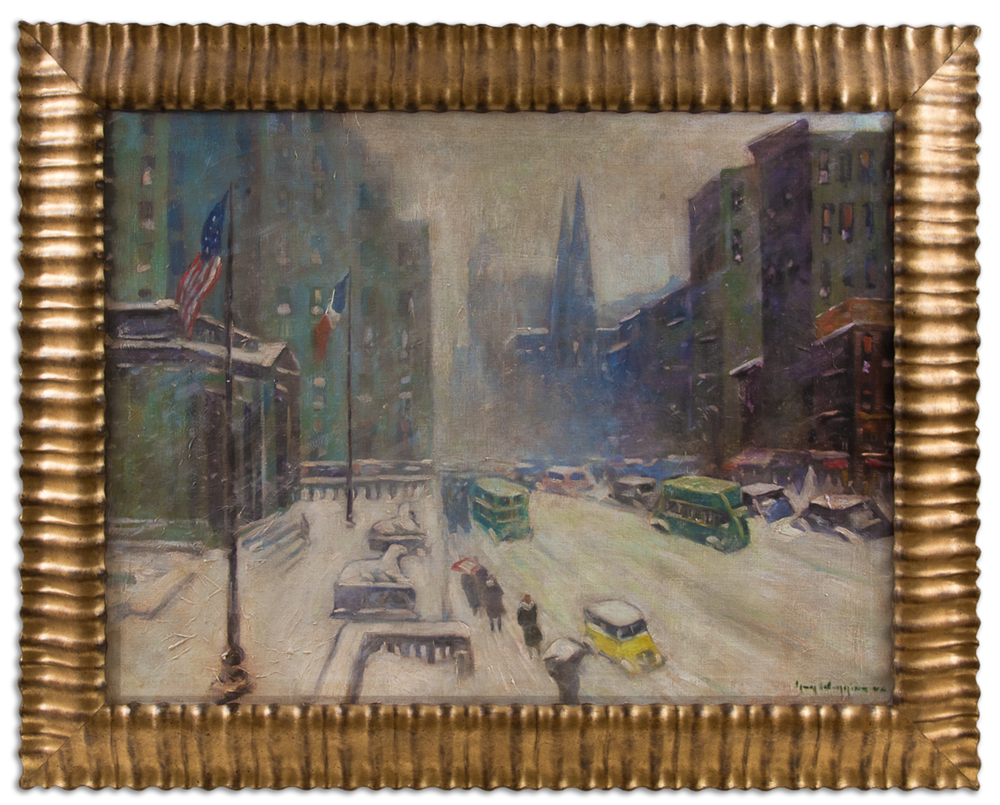 By Guy Wiggins (1883 - 1962)   This piece depicting a snowy day on Fifth Avenue in New York is looking north up Fifth Avenue from the New York Public Library. The focal points of the painting are the two famous Library Lions that are the sentinels to the entrance of the library. Known by locals as Patience and Fortitude the world-renowned pair of marble lions that stand proudly before the majestic Beaux-Arts building at Fifth Avenue and 42nd Street in Manhattan have captured the imagination and affection of New Yorkers and visitors from all over the world since the Library was dedicated on May 23, 1911. Here at Putney we believe that these two Lions are aptly named for the attributes that are important to have when considering investing in today's markets. ( Ray Lent Collection )