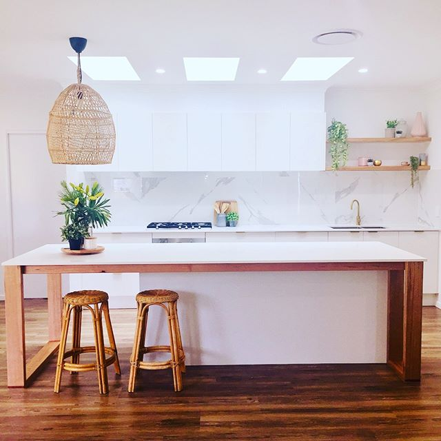 Kitchen reveal time!  #kitchendesign #kitchen #interiors #goldtap #customwoodwork #upcycledfurniture #sunshinecoast #sunshinecoastbuilders #wickerfurniture #interiordesign #buildingdesign #glasshousemountains #beerwah #architecture #tasmanianoak #australianarchitecture #scandinaviandesign #arisedesignanddrafting