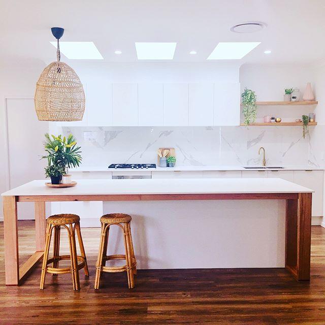 Kitchen reveal time!  #kitchendesign #kitchen #interiors #goldtap #customwoodwork #upcycledfurniture #sunshinecoast #sunshinecoastbuilders #wickerfurniture #interiordesign #buildingdesign #glasshousemountains #beerwah #architecture #tasmanianoak #australianarchitecture #scandinaviandesign #arisedesignanddrafting