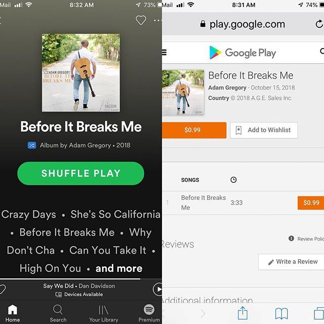 """""""Before It Breaks Me"""" can be found on SPOTIFY and GOOGLE PLAY as well 👊"""