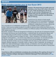 Étape strasbourgeoise pour le tour EUCOR 2013 - Étape strasbourgeoise pour le tour EUCOR 2013