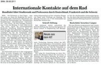 Internationale Kontakte auf dem Rad - BNN, 09.06.2011