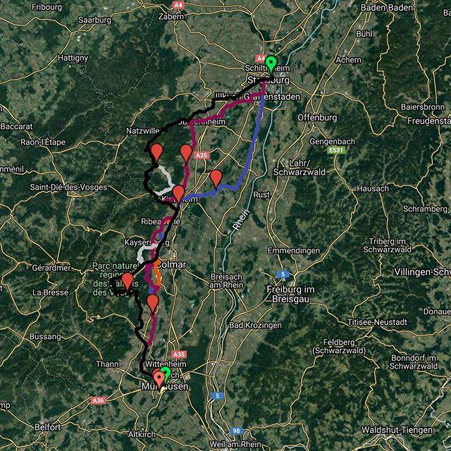 Am zweiten Tag geht es für 120 Teilnehmerinnen und Teilnehmer von Straßburg weiter nach Mulhouse. Dabei geht es entlang der wunderschönen Elsässer Weinstraße! || Le deuxième jour, 120 participants se rendront de Strasbourg à Mulhouse. L'itinéraire suit la belle Route des Vins d'Alsace!  #te19 #toureucor #toureucor19 #strmu