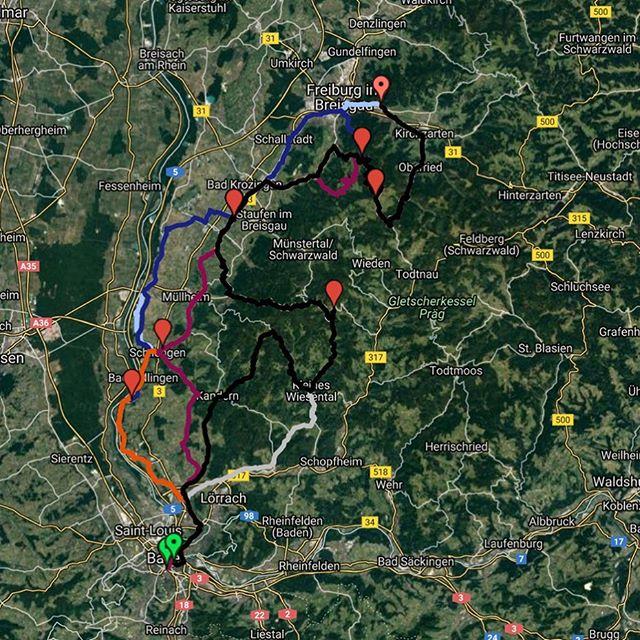 Auf dem Weg von Basel nach Freiburg geht es für 5 von 6 Gruppen heute auf den 1284m hohen Schauinsland. || Sur le chemin de Bâle à Fribourg, 5 groupes sur 6 se trouvent maintenant sur le Schauinsland, haut de 1284m. ⛰🚵🏽♂️ #toureucor #toureucor19 #tag4 #bafr @unibasel