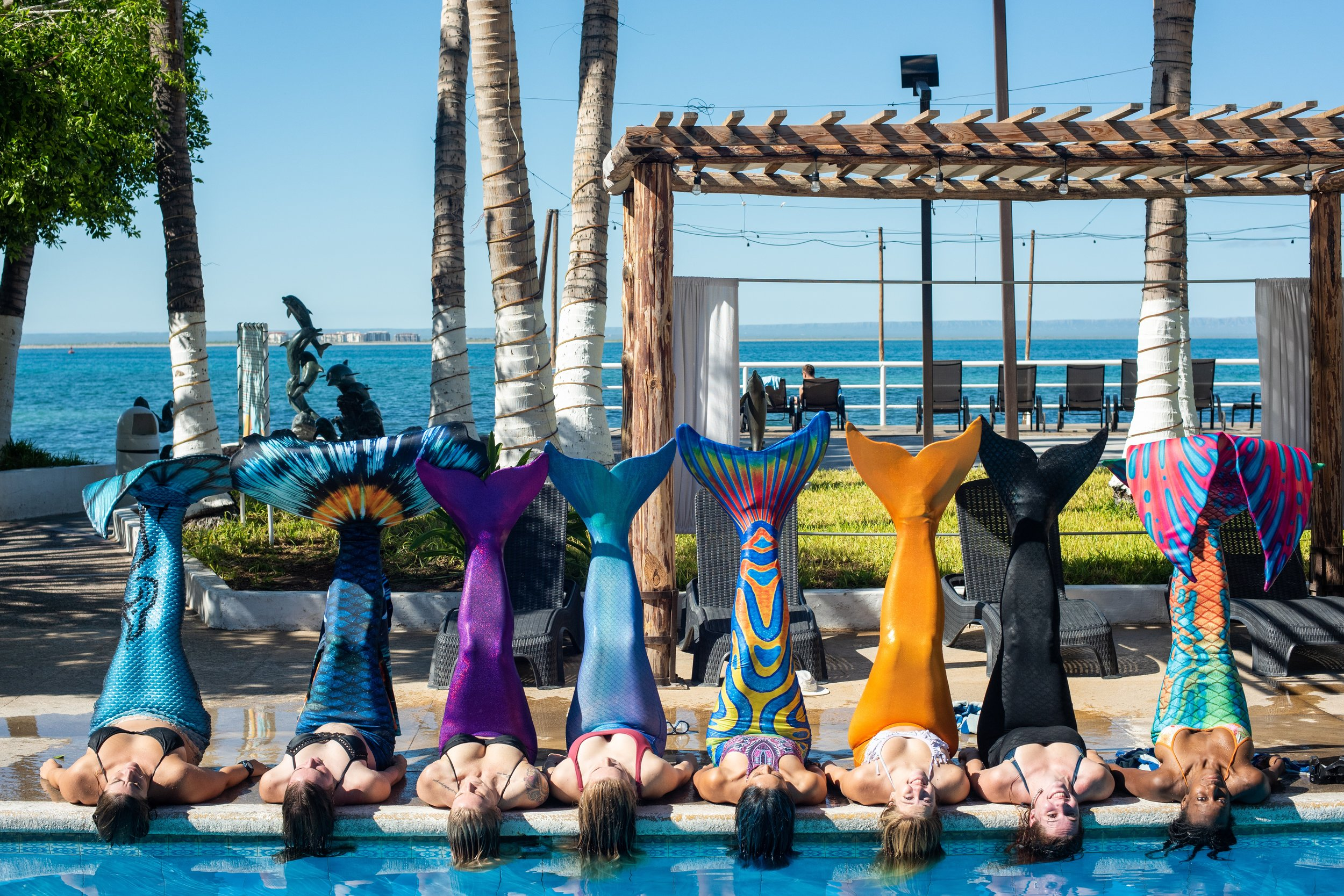 Mermaid Lila (far left) with her students in La Paz, Mexico during a Mermaid Dream Retreat Photo by Cassie Pali ( @Casafras_h2o ).