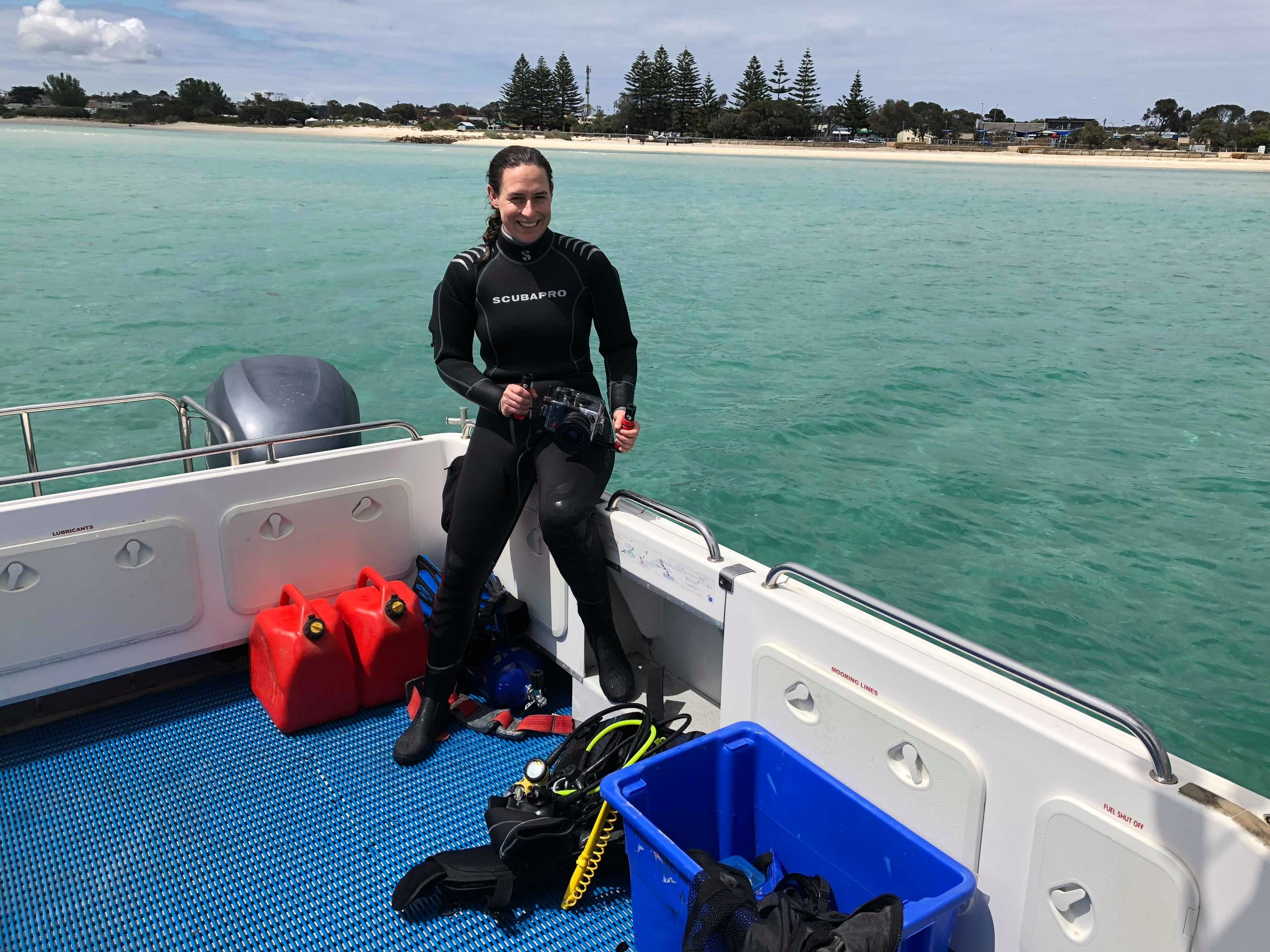 Post-dive Maddy off the coast of Melbourne after discovering a new wreck site. Photo Maddy McAllister ( @shipwreckmermaid )