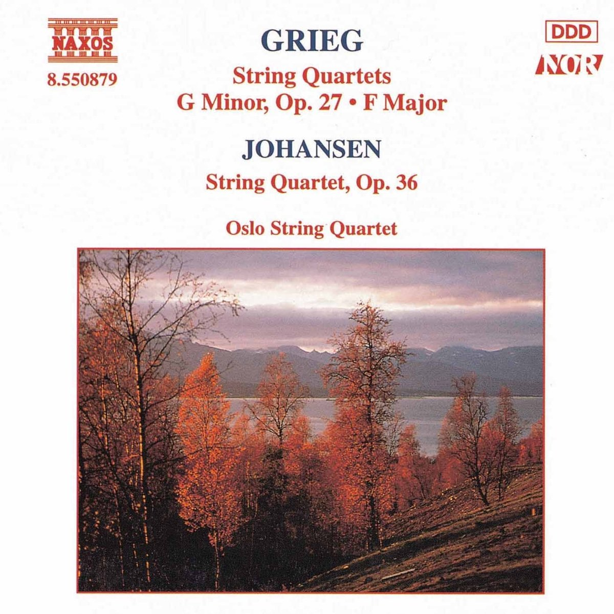 Grieg, Monrad Johansen: String quartets - The very first Oslo String Quartet albumRecorded in Main Studio, NRK Oslo, October 1993Producer: Krzysztof DrabNAXOS 8.550879