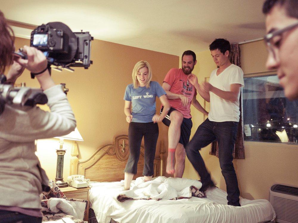 Jenni Melear, Kyle Arrington and Lucas Peterson behind the scenes, Dead Dad