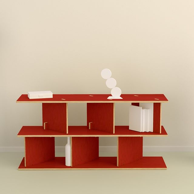 Neubau sideboard in red laminate over birch plywood. Minimalist and sculptural design. Flat pack, simple plug-in assembly without tools. Designed by Ronen Kadushin  #fitfurniture #furniture #design #interiordesign #DIY #furnituredesign #opendesign #berlin #contemporaryfurniture #shelf #plywood #cnc #ronenkadushin #flatpack #contemporarydesign #minimalist #sculptoral #minimalistfurniture #minimalism #ikea