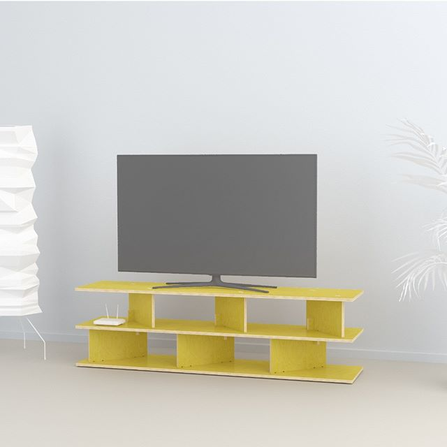 Neubau TV console in yellow laminate over birch plywood. Minimalist and sculptural design. Flat pack, simple plug-in assembly without tools. Designed by Ronen Kadushin  #fitfurniture #furniture #design #interiordesign #DIY #furnituredesign #opendesign #berlin #contemporaryfurniture #shelf #plywood #cnc #ronenkadushin #flatpack #contemporarydesign #minimalist #sculptoral #minimalistfurniture #minimalism #ikea  #yellow