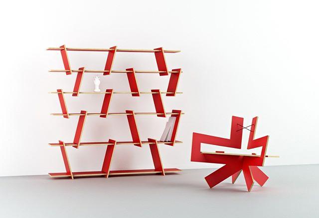 Italic shelf and Samurai chair in red laminate. #fitfurniture #furniture #design #interiordesign #DIY #furnituredesign #opendesign #berlin #contemporaryfurniture #shelf #plywood #cnc #red #ronenkadushin #simple #flatpack #contemporarydesign #onlineshop #minimalist #sculptoral #minimalistfurniture #minimalism #chair #japan #samurai #stuhl #ikea #dezeen
