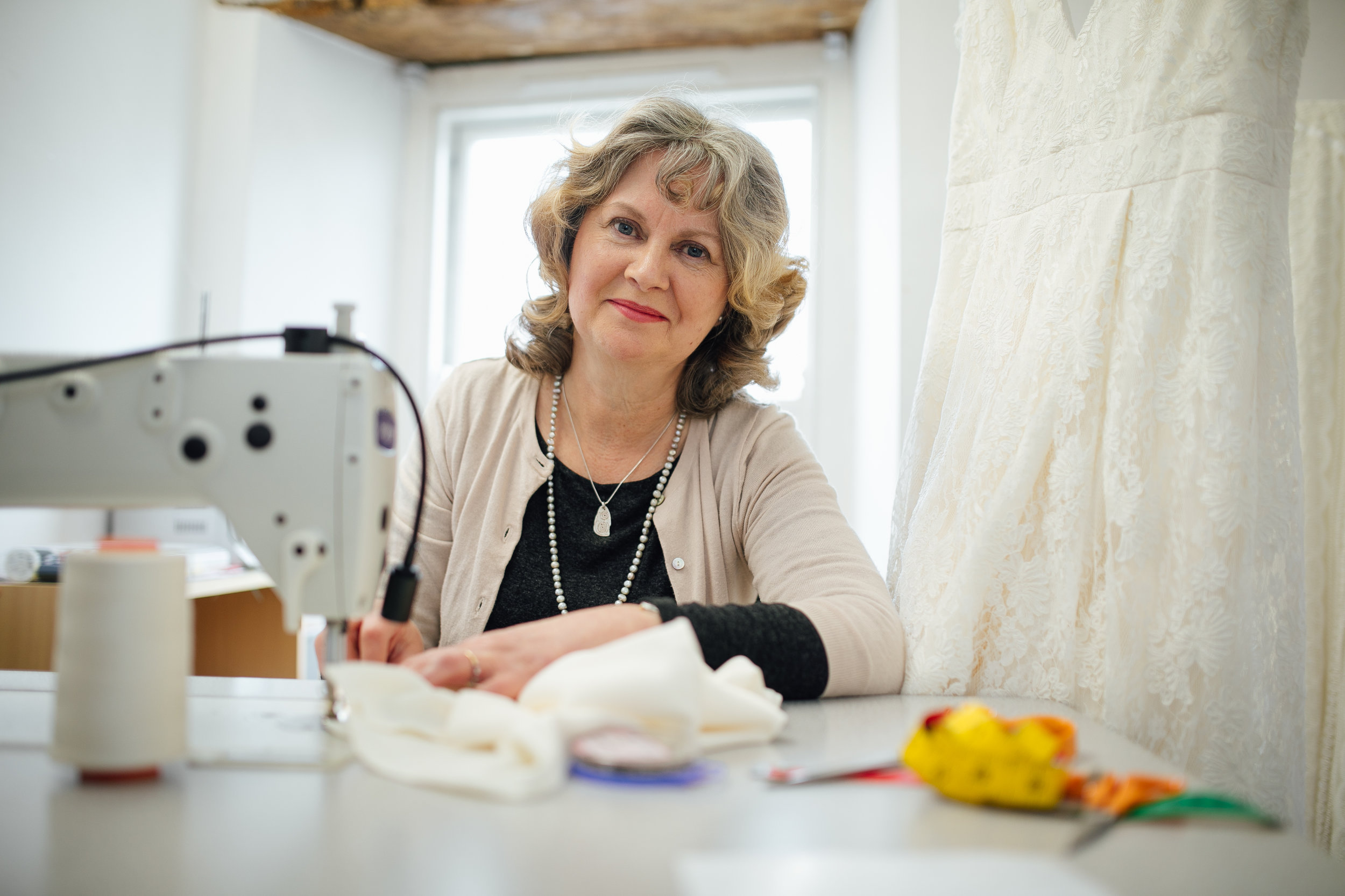 Helen - Helen has been working with Sally for 5 years and is a seamstress genius.Helen studied fashion at The Royal College of Art and has been creating masterpieces ever since, she makes sure every gown fits to perfection in our sewing room at White Bride.