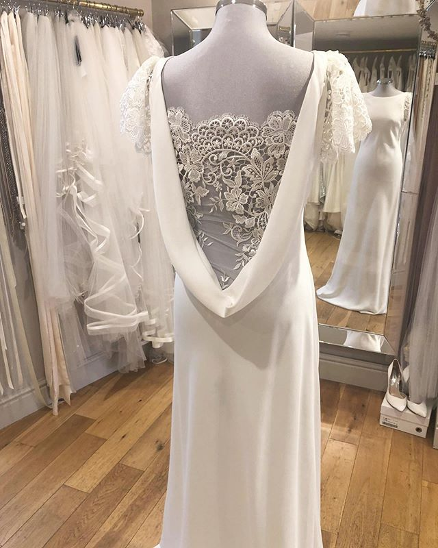CHARLIE BREAR • how beautiful is Trine by @charlie_brear with new back panel and sleeves just so so beautiful 💕 #charliebrear #whitebridewales #bridalboutiquenarberth #visitnarberth #newin #gown #weddingdress #weddingswales #pembrokeshireweddings #bridal #luxebride #specialgown #detail #optional