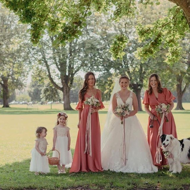 ROBYN• how beautiful does @robyn.layton look in her gown? Plus her Sister's rock the @rewrittenbridesmaids in Coral 🔥 #realbride #enzoani #rewrittenbridesmaids #whitebridewales #bridalboutiquenarberth #coolbride #glamourous @insolecourt #dogsatweddings #ribbons #cardiffbride #Pembrokeshire