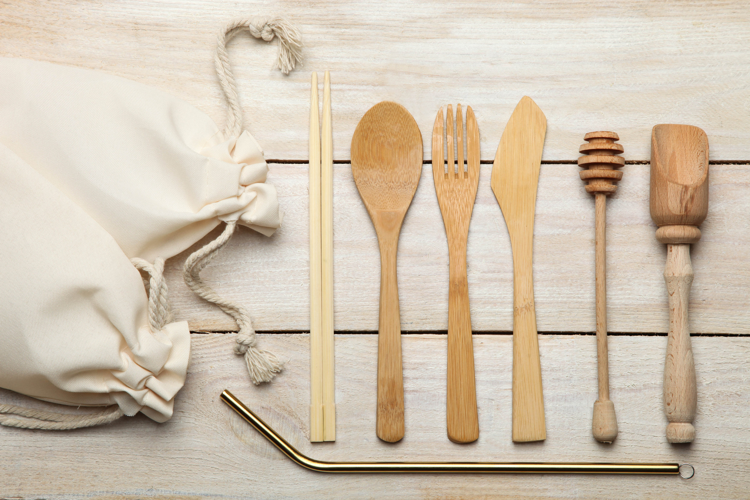 Sporks and straws - Used only for a few moments, your single use fork, knife or spoon can take over 200 years to decompose! Why not try a spork or if you're feeling fancy how about a metal straw for enjoying drinks when you're out? Check out these washable bamboo wonders and find the perfect straw for you here.