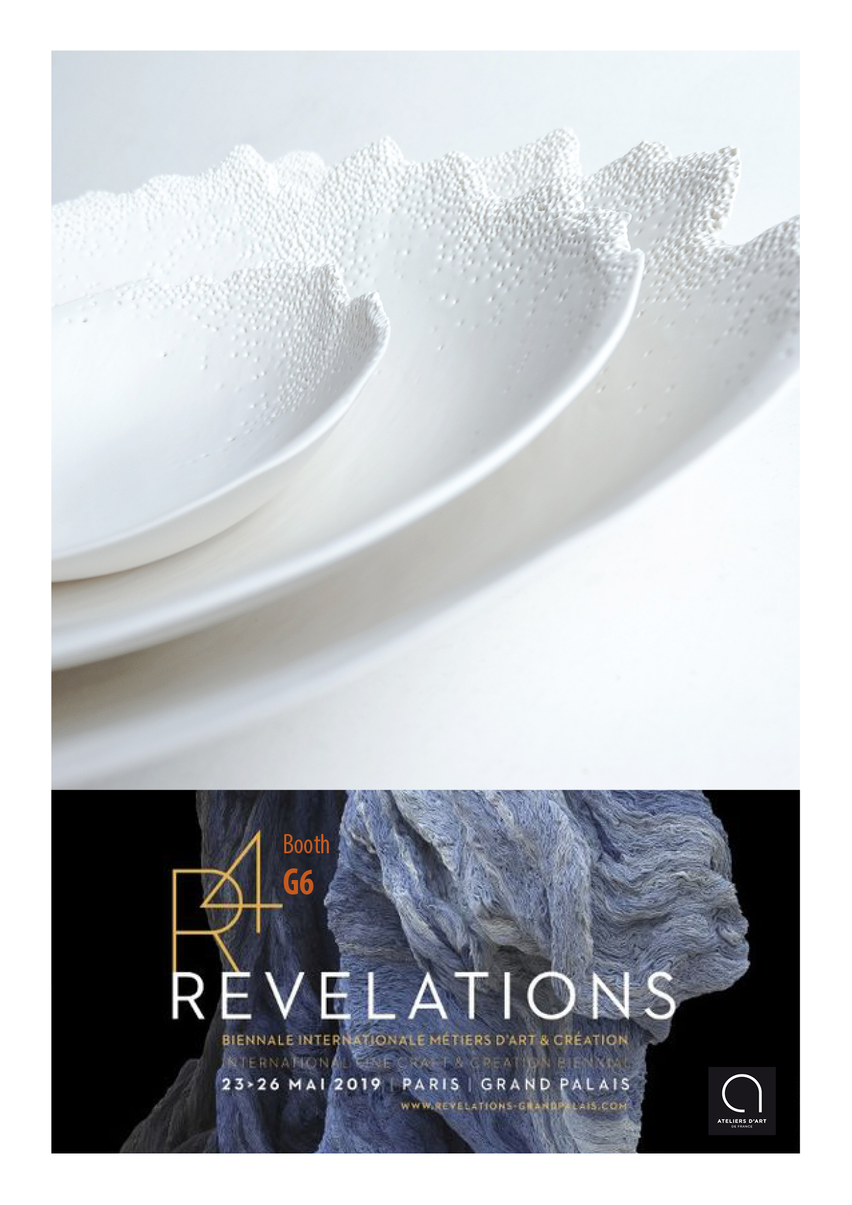 REVELATIONS 2019 - I am pleased to introduce my recent porcelain brand with Esprit Porcelaine LimogesFOAM: 2 delicate shallow dishes - diameter 26cm and 20 cmCARLOTTA: an elegant large platter/plate with hand-made black intervention - diameter 32cmMOHO: a serie of 3 organic salad bowls - high: 20cm, 13cm and 7cmBOOTH G6 - GRAND PALAIS, Paris - 23/26 Mai 2019Wednesday: Opening - 7pm > 10pmThursday > Saturday: 10 am > 8pm - Sunday 26: 10am > 7pmDetails: https://www.revelations-grandpalais.com/fr/