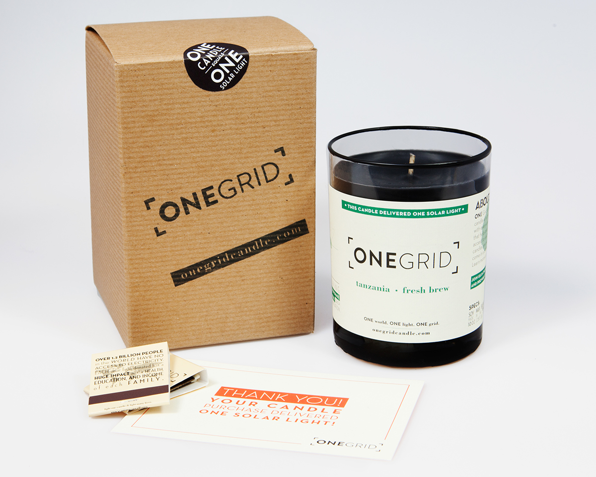 Onegrid - ONEGRID CANDLEYup…you got it….they sell candles. ONEGRID candles are made with a 100% Natural Soy Wax Blend, cotton wicks, and essential oils. They are hand-poured in small batches and are phthalate-free. The company was started to provide people living off-the-grid with a clean and safer alternative source of light than Kerosene lamps. Kerosene lamps are not only extremely harmful to people and the environment but are also very expensive. Money saved from switching to solar lights can be spent on necessary food and medicine instead.How They Give BackONEGRID partner with non-profit organizations that sell solar lights to people in need living off-the-grid. Selling these solar lights (instead of giving) creates a more sustainable and far reaching market within these rural communities.With every purchase they make a cash donation to their partners to deliver one handheld solar light to someone in need living off-the-grid.CLICK HERE TO VISIT SITE