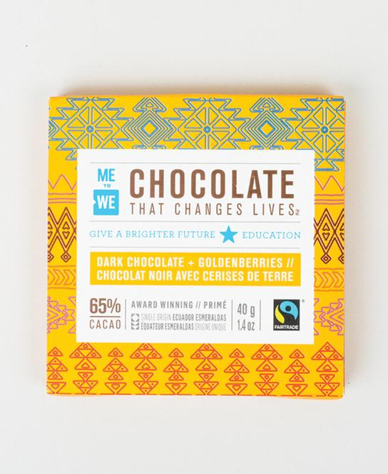 me to we - DARK CHOCOLATE WITH GOLDENBERRIESAs well as their 'Chocolate That Changes Lives', ME to WE sell a variety of other Artisan-created products such as jewellery, notebooks, coffee etc.ME to WE is an innovative social enterprise that offers socially conscious products and experiences that give back, empowering people to change the world with their everyday consumer choices ME to WE work with extraordinary makers in Kenya and Ecuador, from artisans to leatherworkers and cacao farmers, who are leading their families and communities to a bright future.HOW THEY GIVE BACKEach ME to WE product gives back to these same families and communities in one of five ways—Helping provide education.Clean water.Health care.Food security.financial opportunity.Through their Track Your Impact promise, you get to see where and how you changed lives, with stories about the people and places behind every purchase.CLICK HERE TO VISIT SITE