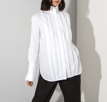 White pleated high neck shirt