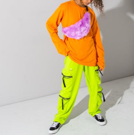 Neon green track pants