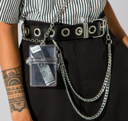 Black eyelet chained belt