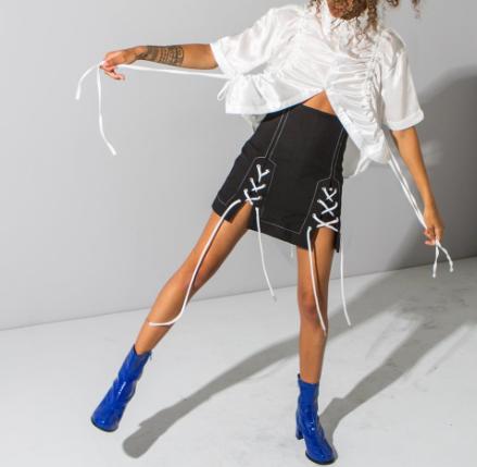 Copy of Black lace up mini skirt