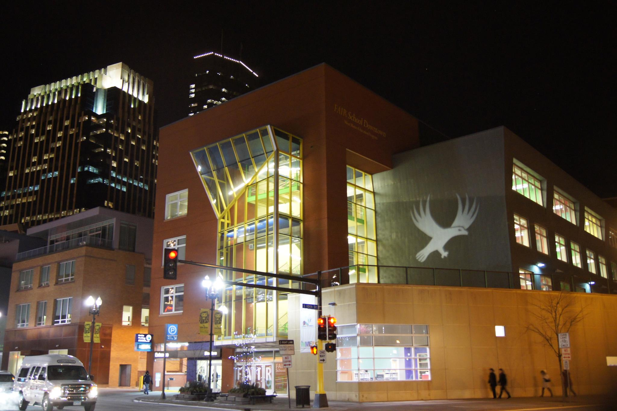 The FAIR School Downtown - Part of Minneapolis Public Schools, The FAIR School is rooted in arts, equity, innovation and creativity. Providing rich arts programming, cultural understanding, global citizenship and a robust network of partnerships, FAIR personalizes learning for all 9-12 students. Designed by Cuningham Group, innovative learning spaces intersperse with traditional classrooms.