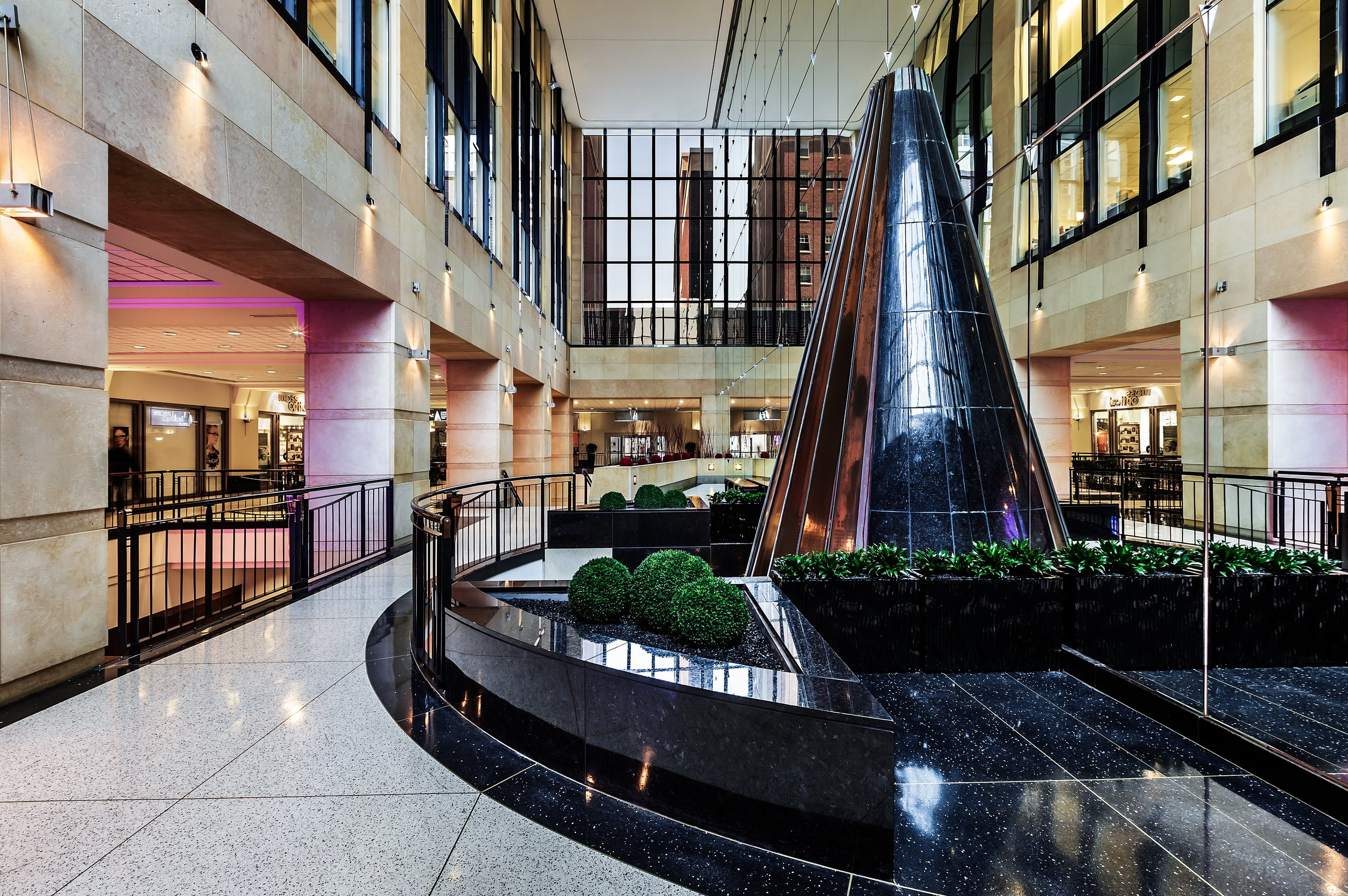 Lasalle Plaza - Located in the heart of downtown, LaSalle Plaza is a direct connection to the best in retail, entertainment and transportation. Its distinguished architecture, superior finishes and location provide a striking multi-use building with high-quality office and retail space. Inside, the expansive lobby and retail areas feature trophy finishes and one-of-a-kind artwork.