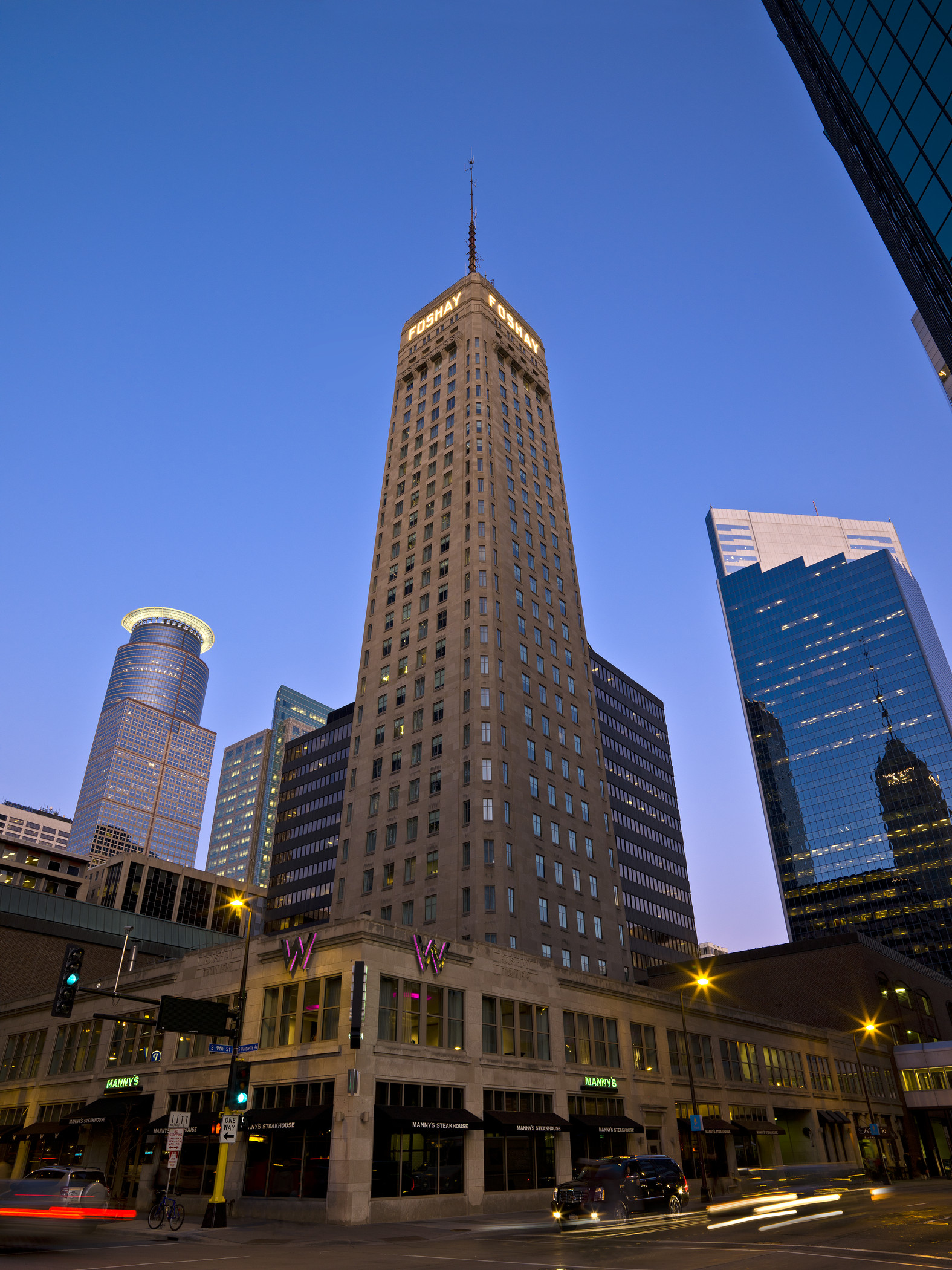 W Minneapolis/ Foshay Tower - Built in 1929, the Foshay Tower was the first to surpass the height of Minneapolis City Hall, and remained the tallest building in Minneapolis until the IDS Center opened in 1972. Visit the museum on the 29th floor and chat with staff to learn more about the building's history.