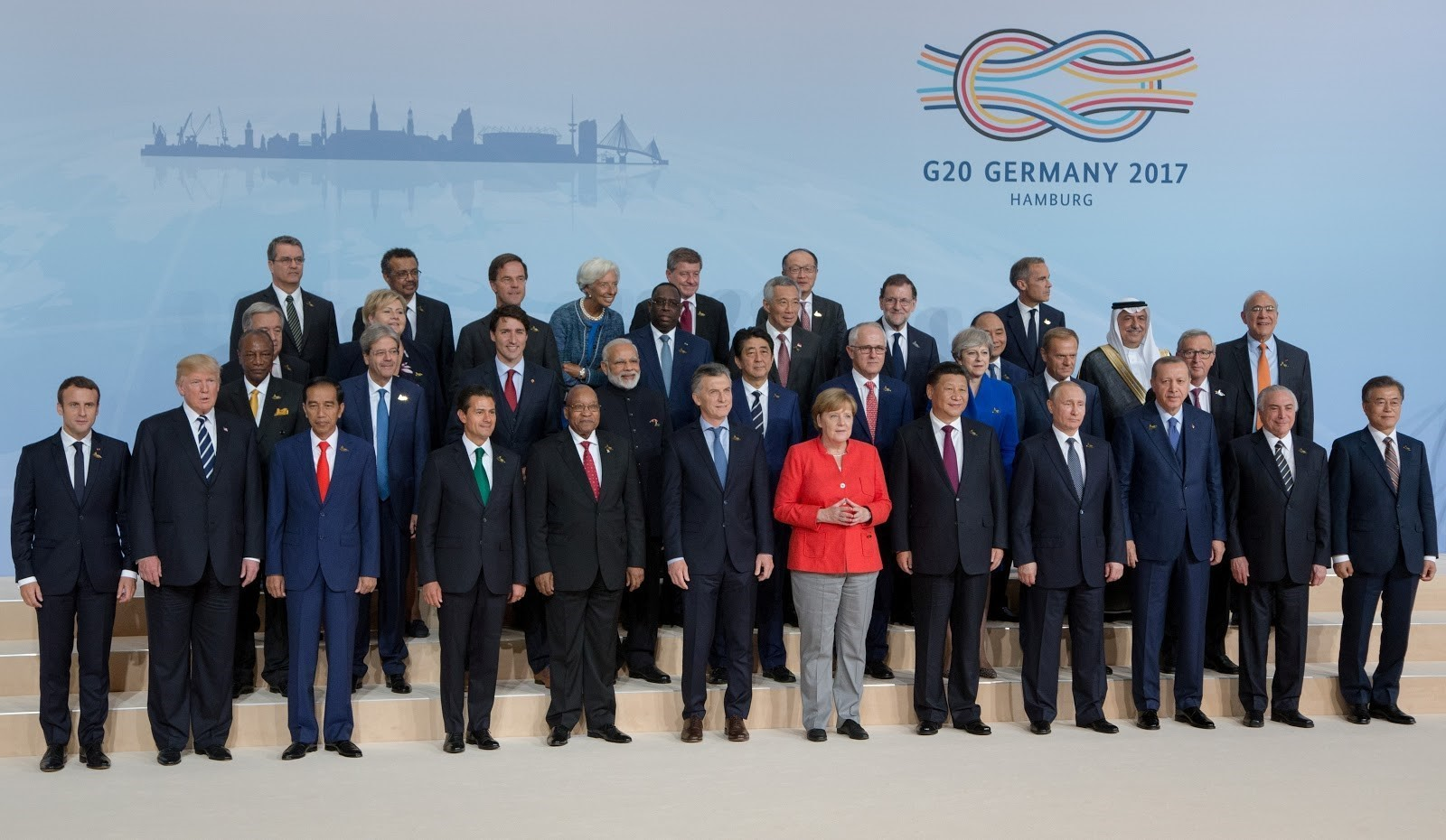 "The 2017 ""family photo"" from the G20 summit with just three women: Angela Merkel, the Chancellor of the host nation Germany, Theresa May, the British prime minister and Norway's Prime Minister Erna Solberg. IMAGE: Reuters."