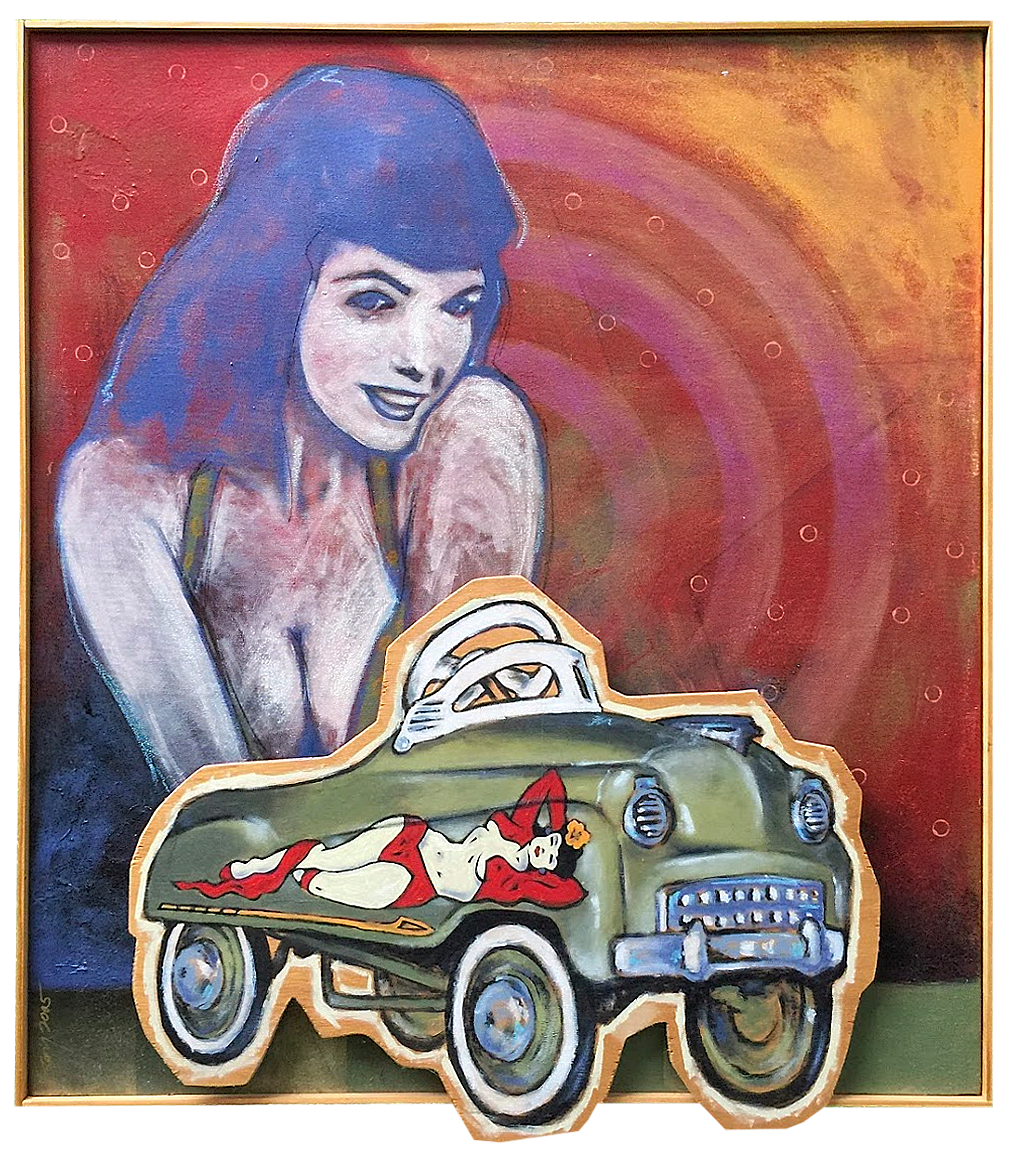 "Ride  | acrylic and mixed media on canvas and wood, 34"" x 42"", ©Gary Garbett"