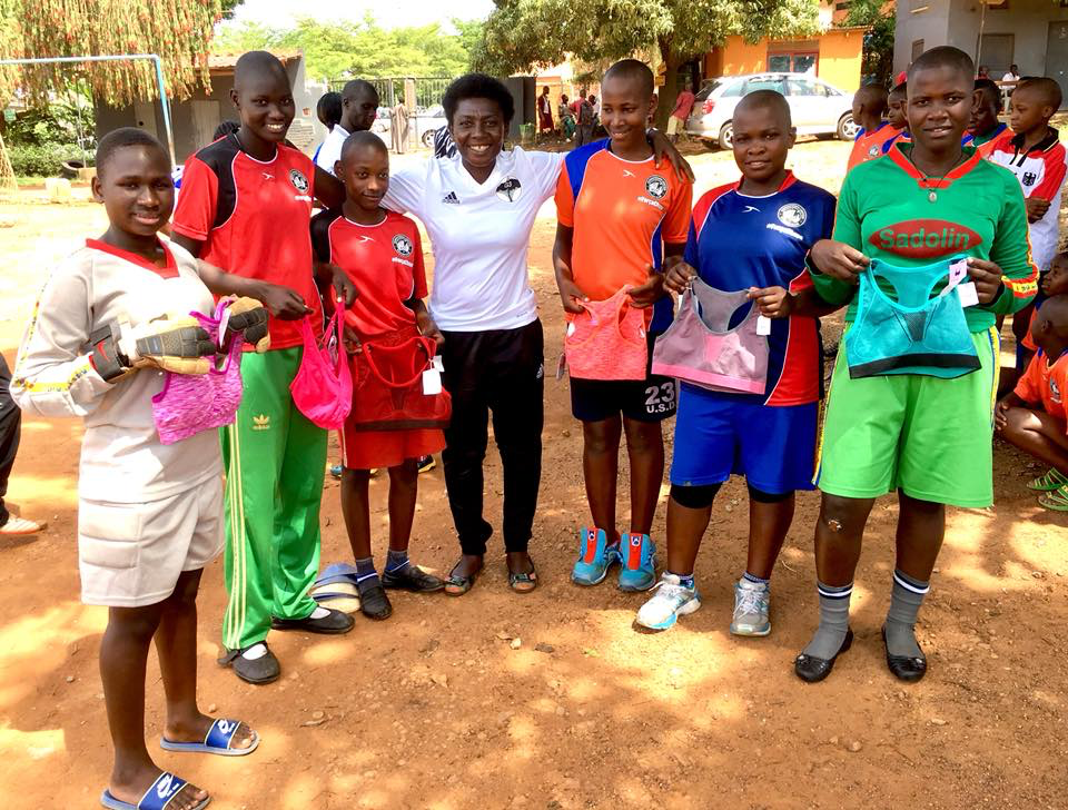 Players with Growing the Game for Girls in Uganda received sports bras and uniforms from The Sports Bra Project and Downtown United Soccer Club in January 2018.