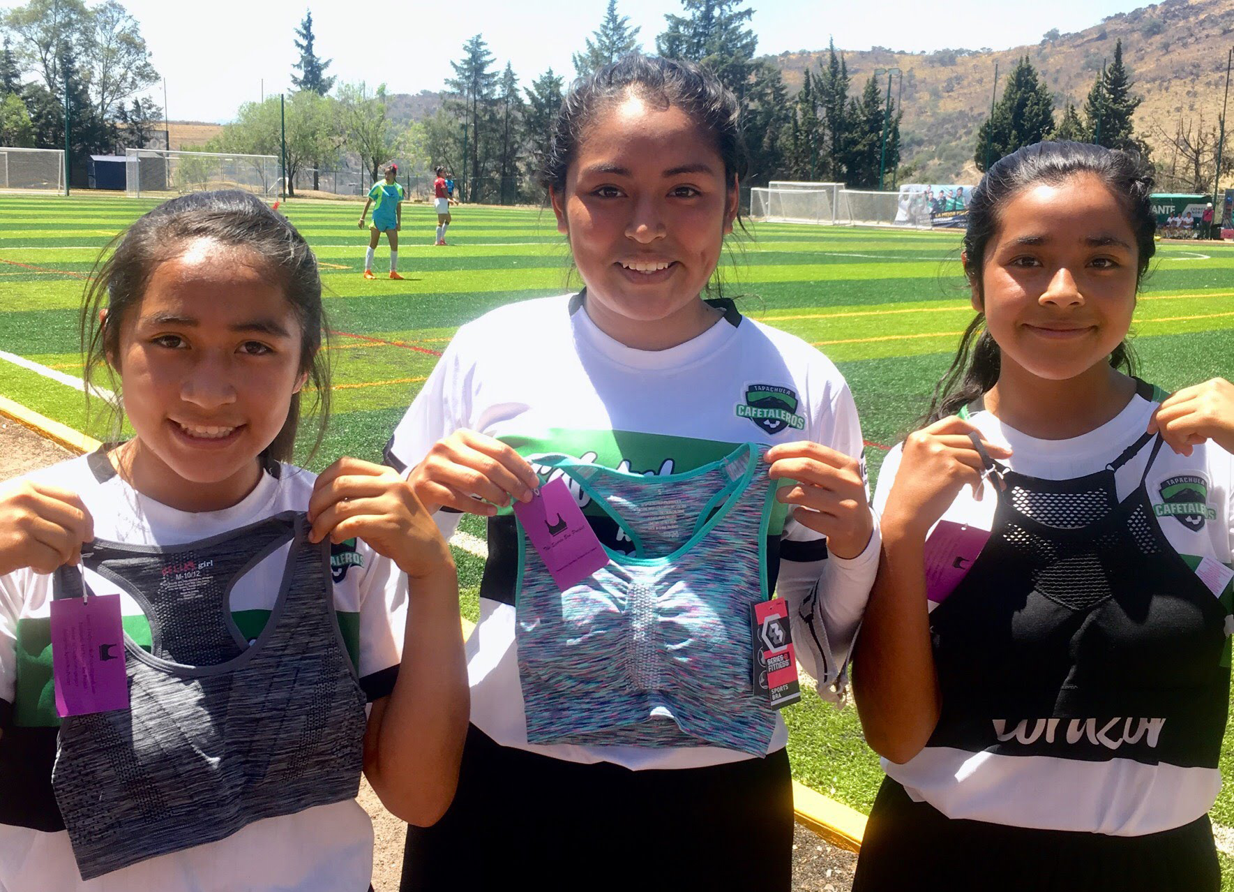 Players with Gonzo Soccer in Mexico received a shipment of sports bras in April 2018.