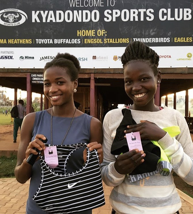 Players with Growing the Game for Girls in Uganda received sports bras in December 2017.