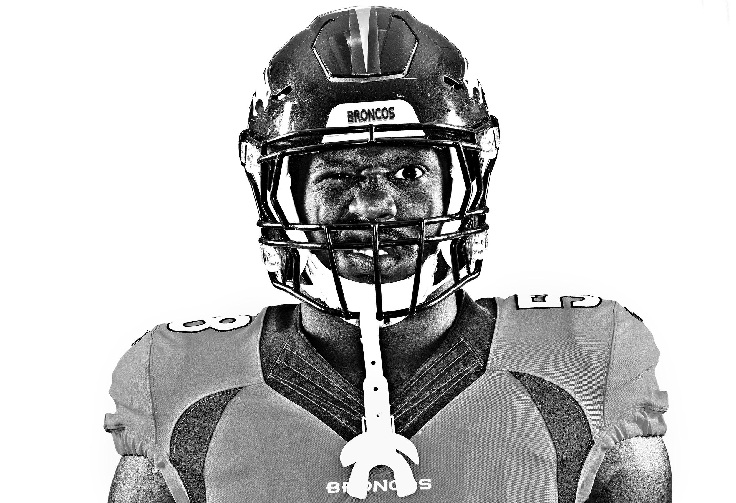 Denver Broncos linebacker Von Miller stands for a portrait on August 16, 2016. (Photo by Jamie Schwaberow for Sports Illustrated)