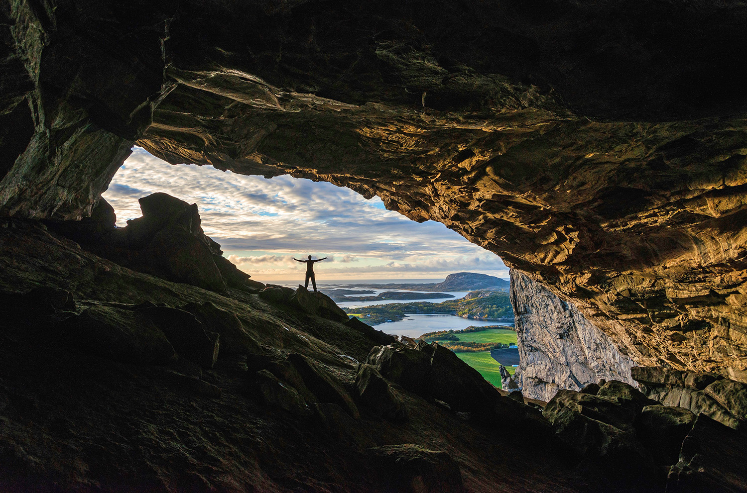 Hanshelleren coastal cave is one of the largest in northern Europe and home of the worlds hardest sports climbing route (9B+) set in 2016 by the Chezk climber Adam Ondra.