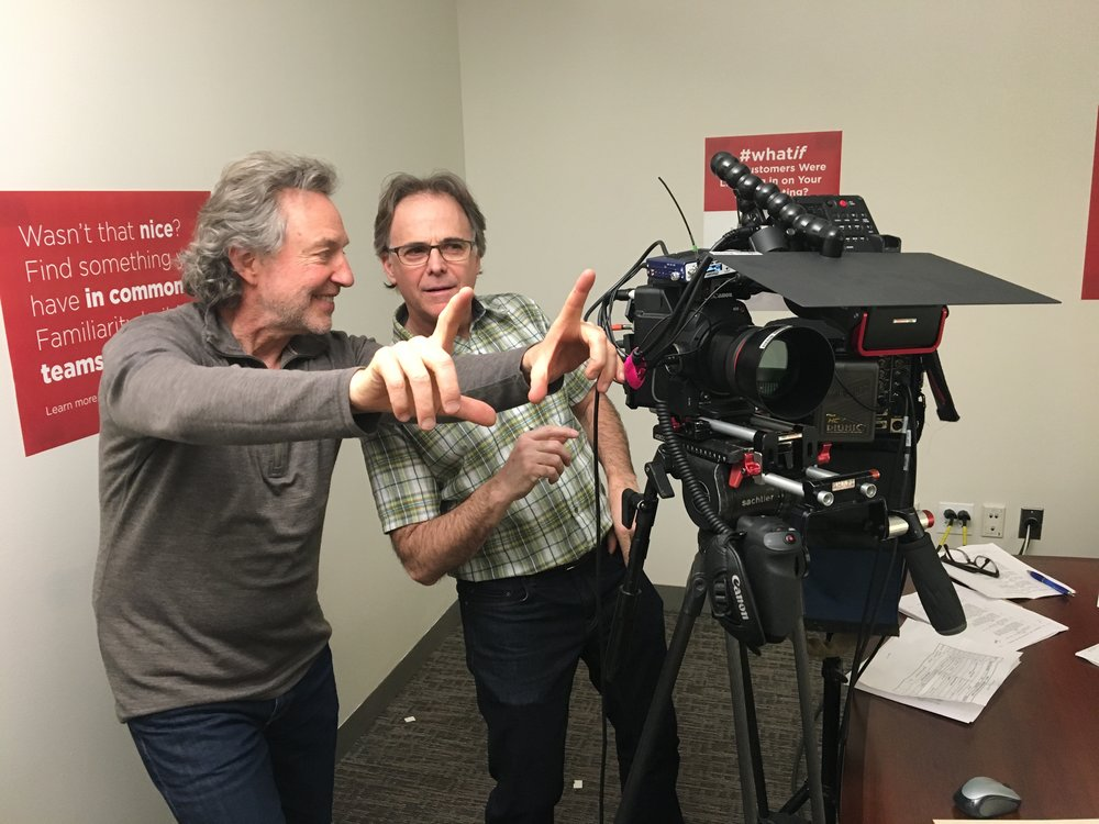 Director Joel Lesko and cinematographer Dan Gold consider their next shot in the filming of Defeating Unconscious Bias.