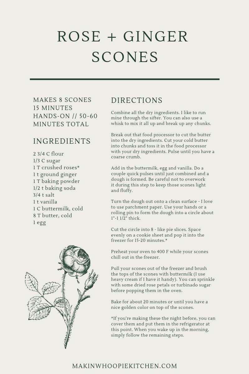 Rose and Ginger Scones Recipe Card