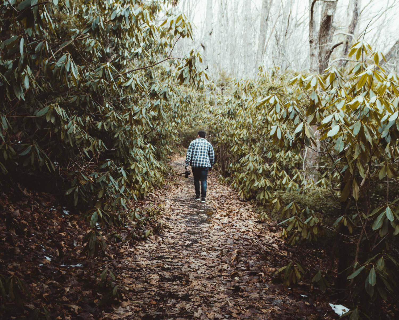 Ryan walking through a forest