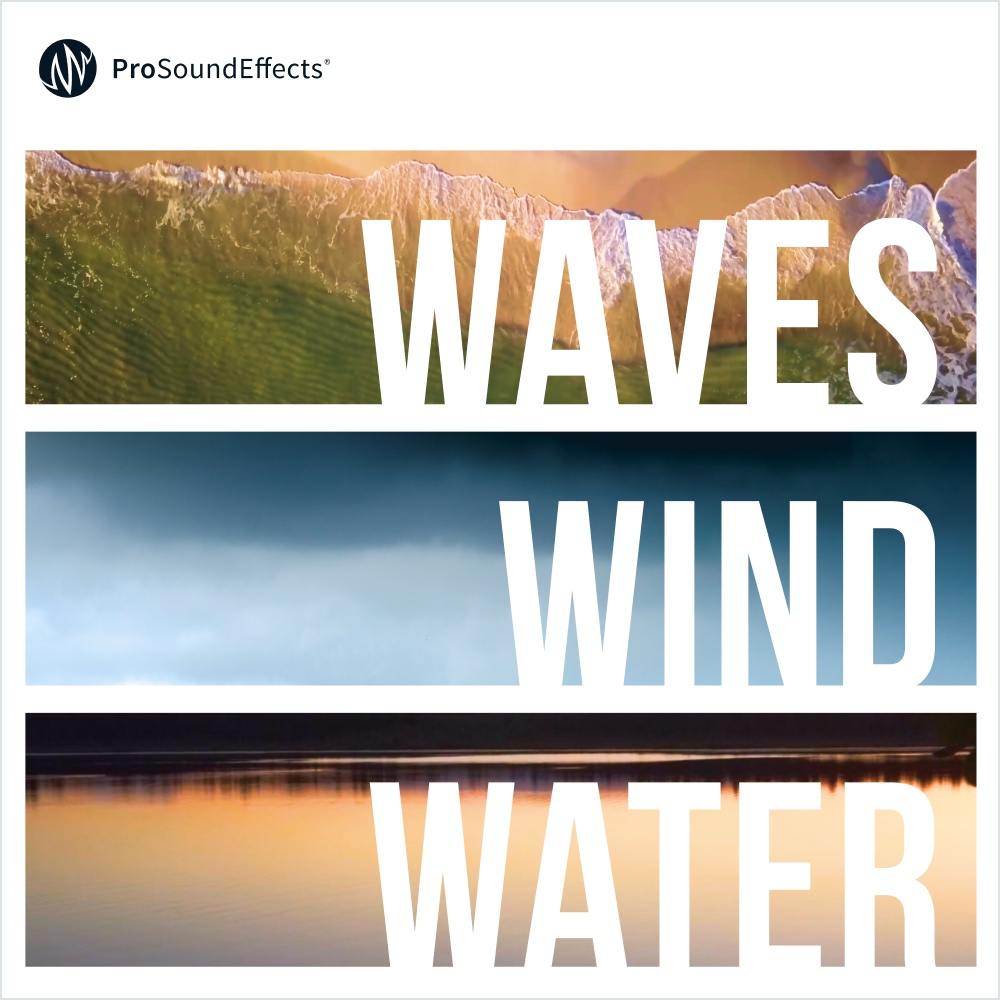 WAves Wind water - This brand new collection of ambiences is a huge technological leap forward for us. Presented in Ambisonics, it's ideal for use in VR or 360 video applications. The real beauty of this format, though, is the flexibility it provides the user to output such disparate formats as stereo, binaural, 5.1 surround, 7.1 surround and more. Furthermore, it's possible to pick a listener perspective for any of these potential outputs.