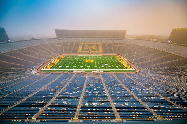 Fun shot from atop the big blue sea today in the fog. #michigan #wolverines #wideangle #justgoshoot #football #fall