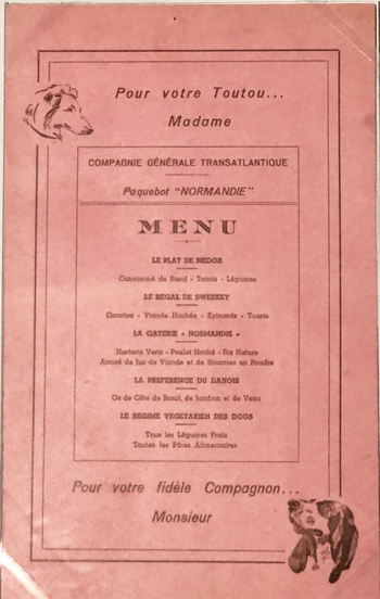 They knew what luxury was all about— From the dining menu for dogs…