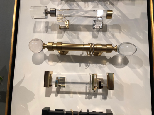 Glass and acrylic drapery hardware at Design Legacy